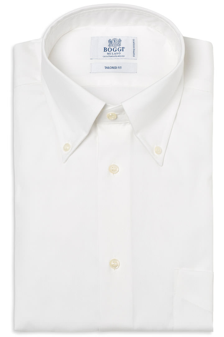 TWO PLY BUTTON DOWN COLLAR PIN POINT COTTON SHIRT, Bianco, large