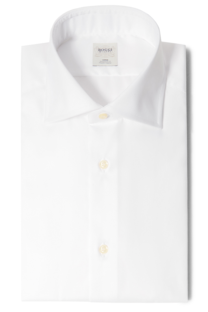 TAILORED FIT PINPOINT COTTON SHIRT WITH WINDSOR COLLAR, Bianco, large