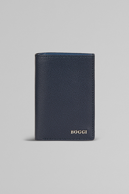 VERTICAL LEATHER CREDIT CARD HOLDER, NAVY BLUE, medium