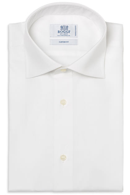 TWO PLY WINDSOR COLLAR PIN POINT COTTON SHIRT, Bianco, medium