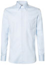 TWO PLY BUTTON DOWN COLLAR PIN POINT COTTON SHIRT, Azzurro, small
