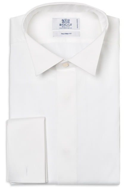 TUXEDO SHIRT WITH WINGTIP COLLAR TAILORED FIT, White, medium