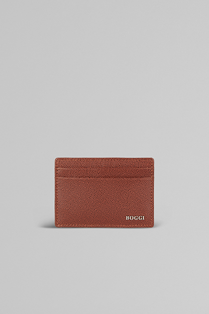 LEATHER CREDIT CARD HOLDER, LEATHER BROWN, medium