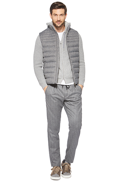 MELANGE QUILTED GILET, Grigio, medium