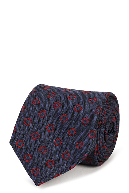 PATTERNED SILK/COTTON JACQUARD TIE, , medium