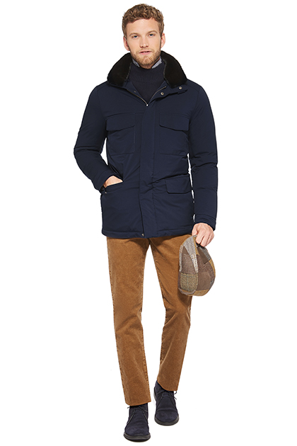FIELD JACKET WITH FAUX FUR, Navy Blue, medium