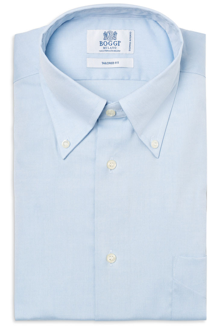 TWO PLY BUTTON DOWN COLLAR PIN POINT COTTON SHIRT, Azzurro, large