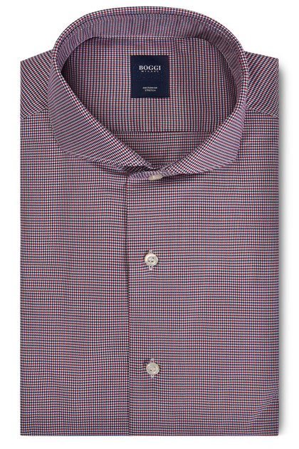 CUSTOM FIT BLUE/BURGUNDY SHIRT WITH NAPLES COLLAR, , medium