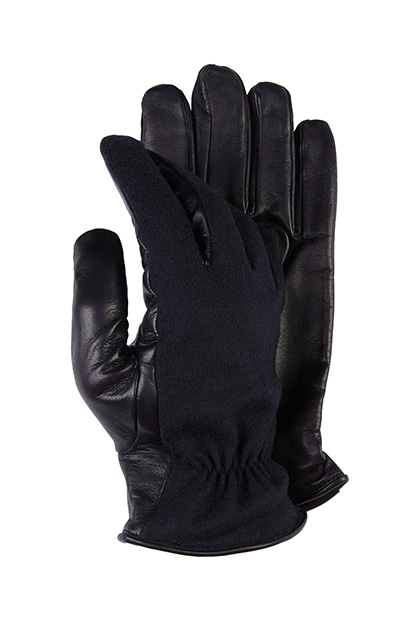 LEATHER AND JERSEY GLOVES, Navy, medium