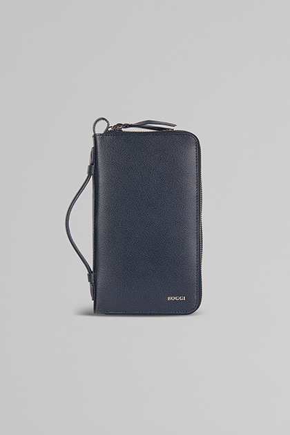 SMALL LEATHER BAG WITH STRAP, NAVY BLUE, medium