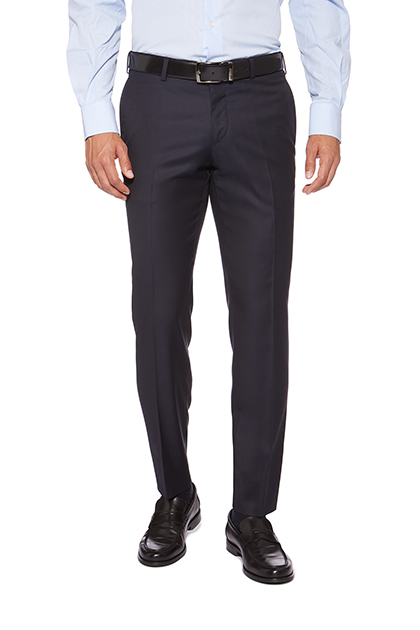 TROUSER FOR SUIT WITH 0 PINCE IN SUPER 130 PURE WOOL, Navy, medium