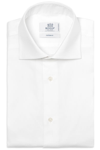 TWO PLY DOBBY COTTON SHIRT WINDSOR COLLAR, White, medium